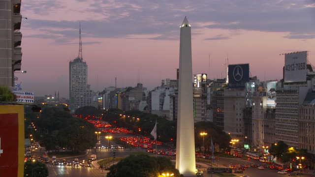 view of obelisco in buenos aires, argentina - obelisk stock-videos und b-roll-filmmaterial