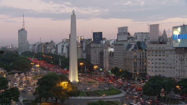 view of obelisco in buenos aires, argentina - avenida 9 de julio stock videos & royalty-free footage