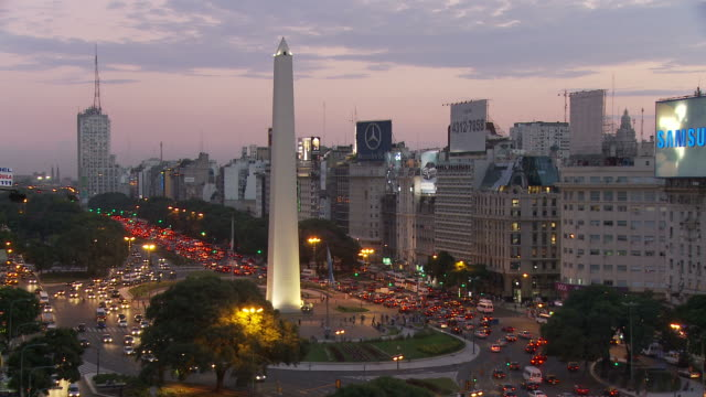 view of obelisco in buenos aires, argentina - obelisk stock videos & royalty-free footage