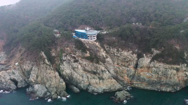 view of observation point of taejongdae park(the southernmost tip of yeongdo-gu district) in busan - crag stock videos and b-roll footage