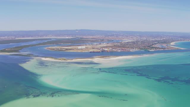 ws aerial pan view of ocean / adelaide, australia - south australia bildbanksvideor och videomaterial från bakom kulisserna