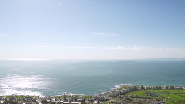 WS PAN View of ocean and robben Island, Green Point with stadium / Cape Town, Western Cape, South Africa