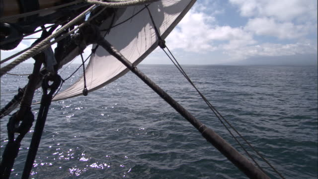 View of ocean from replica of HMS Endeavour.