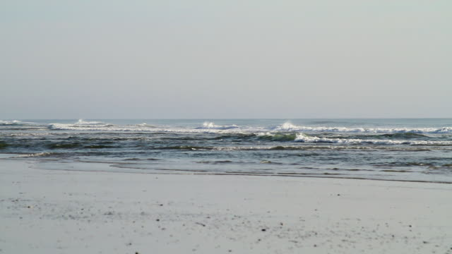 ws view of ocean waves rolling on to beach / rodanthe, north carolina, united states - north carolina beach stock videos & royalty-free footage