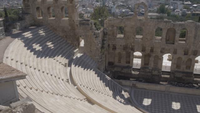 view of odeon of herodes atticus, the acropolis, athens, greece, europe - acropolis athens stock videos & royalty-free footage