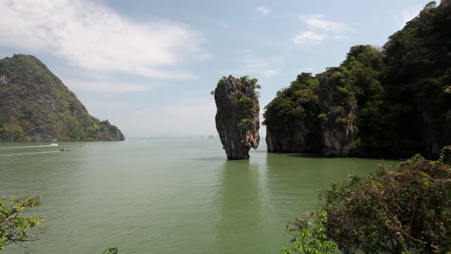 ws view of of james bond island / phang nga bay, krabi, thailand - phang nga bay stock videos and b-roll footage