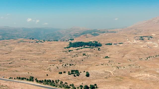 vídeos de stock, filmes e b-roll de view of of new cedar saplings and the ancient cedar trees in the cedars of god forest in bsharri. - cedro do líbano
