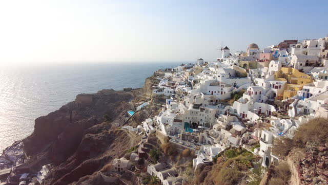 view of oia in santorini, greece - cyclades islands stock videos & royalty-free footage