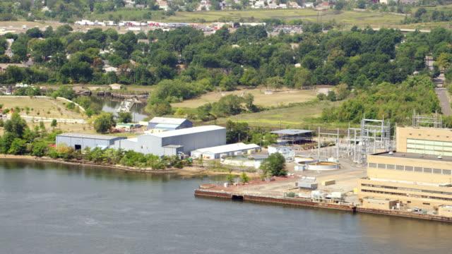 MS AERIAL View of oil factory / Philadelphia