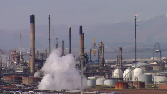 ws view of oil refinery, cooling towers and chimneys / grangemouth, scotland, uk - stem topic stock videos & royalty-free footage