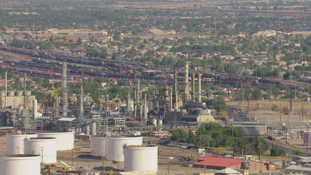 WS AERIAL View of oil refinery / El Paso, Texas, United States