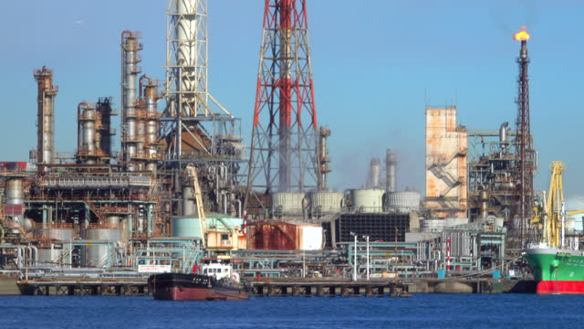 view of oil refinery. oil and gas industrial - industrial district stock videos & royalty-free footage