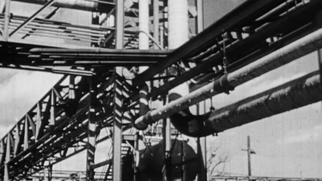 ms view of  oil refinery / united states - 1940 stock videos & royalty-free footage