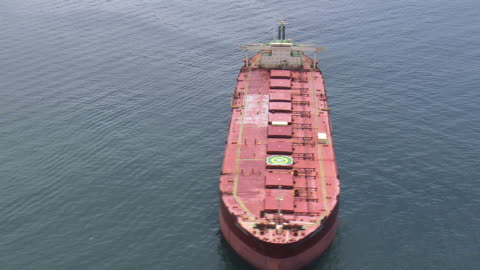 ms aerial ts view of oil ship moving in ocean / rio de janeiro, brazil - industrial sailing craft stock videos & royalty-free footage