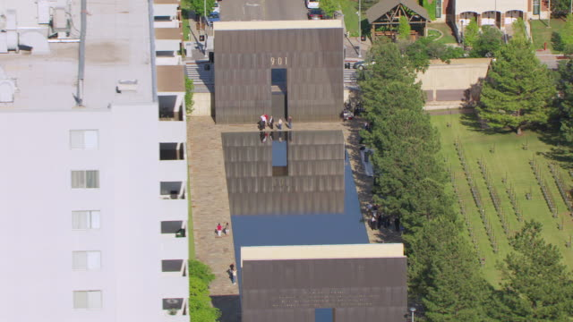 ws aerial view of oklahoma city national memorial at downtown / oklahoma city, oklahoma, united states - bomb stock videos and b-roll footage