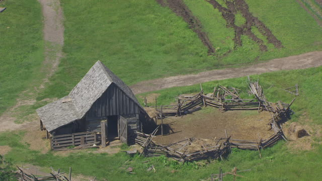 WS AERIAL POV View of old barn / Iowa, United States