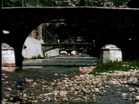 MS ZO View of old bridge, Belgrade, Yugoslavia / AUDIO