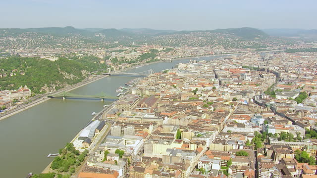 WS AERIAL View of old chain bridge and city / Budapest, Hungary