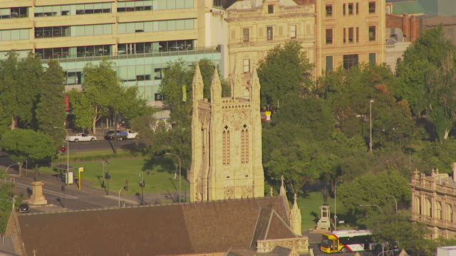 ws aerial zo view of old church / adelaide, south australia, australia - famous place stock videos & royalty-free footage