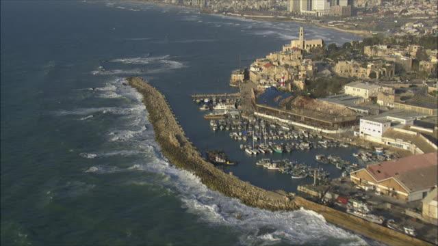 ws pov aerial view of old city jaffa and skyline / jaffa, israel - jaffa stock videos & royalty-free footage