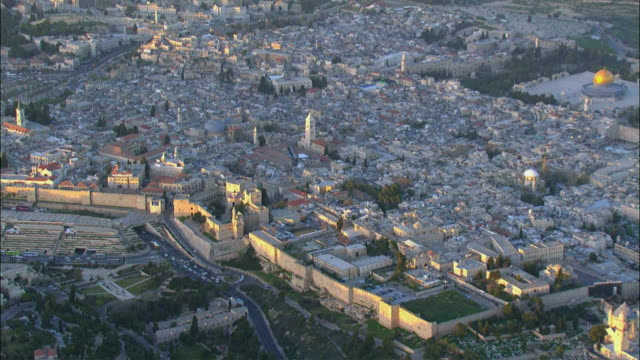 aerial view of old city / jerusalem, israel - jerusalem stock videos & royalty-free footage