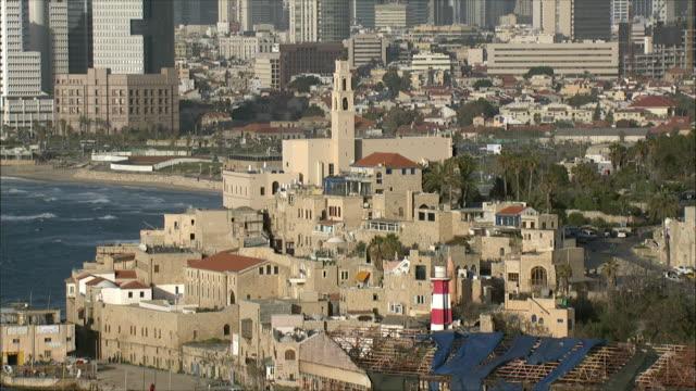 ws zo aerial view of old city of jaffa and skyline of tell aviv / tel aviv, israel - jaffa stock videos & royalty-free footage