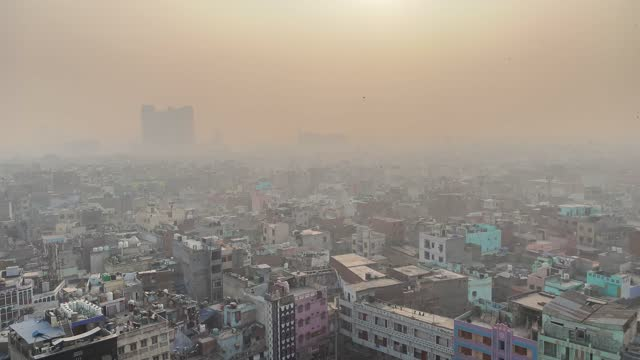 view of old delhi as the city covered with dense smog and pollution, in chandni chowk,delhi on 27 december 2020. air pollution in india is estimated... - smog stock videos & royalty-free footage