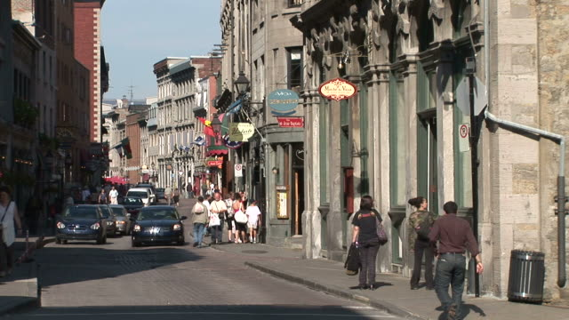 view of old montreal street in montreal canada - montreal video stock e b–roll