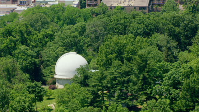 ws aerial pov view of old naval observatory with cityscape / washington dc, united states  - american culture stock videos & royalty-free footage