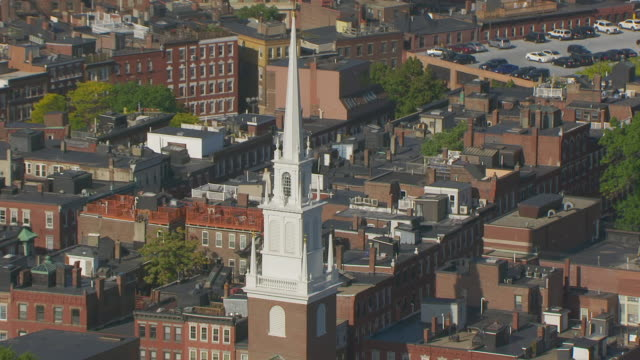 ws zo aerial pov view of old north church with cityscape / north end, boston, massachusetts, united states - old north church stock videos & royalty-free footage