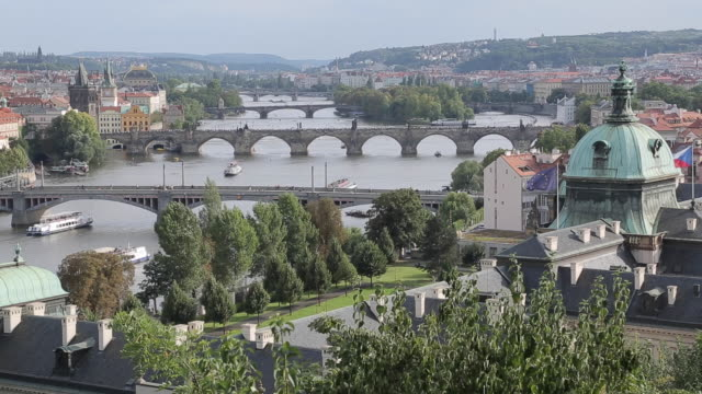 view of old town and bridges over vltava river, prague, czech republic, europe - vltava river stock videos & royalty-free footage