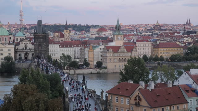 View of Old Town and Charles Bridge from Charles Bridge, Prague, Czech Republic, Europe