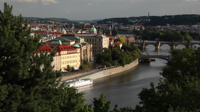 ws ha view of old town and vltava river / prague, czech republic - river vltava stock videos and b-roll footage