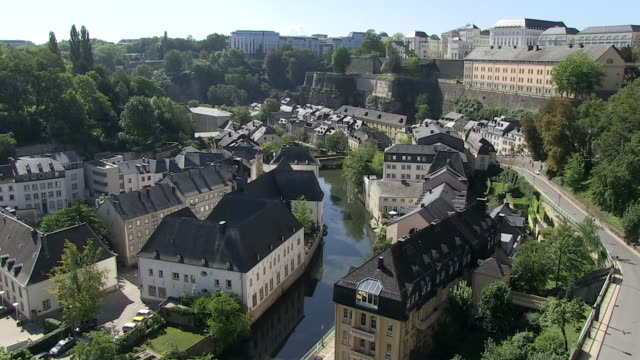 ms view of old town grund and river petrusse / luxembourg-city, luxembourg - luxembourg benelux stock videos & royalty-free footage