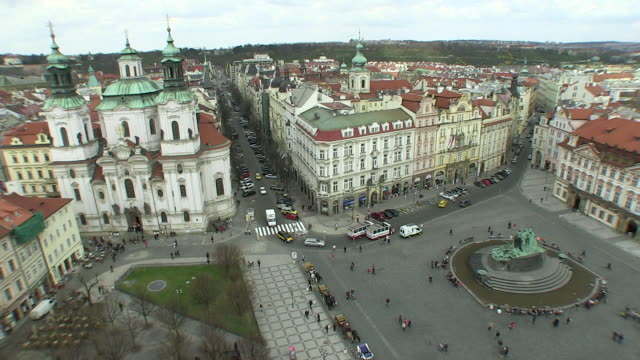 ws view of old town square near streets / prague, hlavni mesto praha, czech republic - prague old town square stock videos and b-roll footage