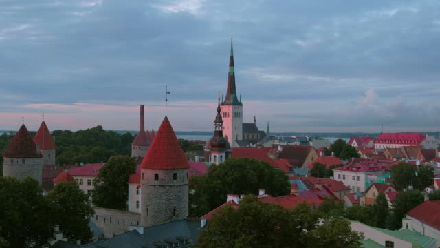 view of old town tallinn from toompea hill - old town stock videos & royalty-free footage