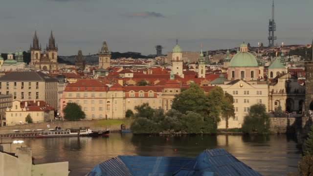 view of old town, vltava & charles bridge from charles bridge, prague, czech republic, europe - traditionally czech stock videos and b-roll footage