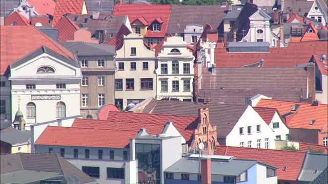 MS AERIAL View of old Town Wismar / Wismar wal, Germany