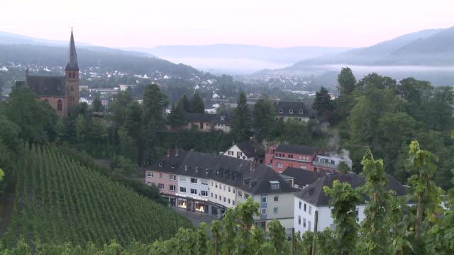 ws view of old town with evengelical church / saarburg, saar-valley, rhineland-palatinate, germany - evangelicalism stock videos & royalty-free footage