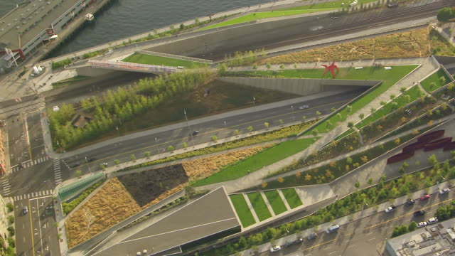 ws aerial view of olympic sculpture park / seattle, washington, united states - sculpture stock videos and b-roll footage