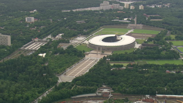 WS AERIAL ZI View of Olympic stadium and city of berlin / Germany