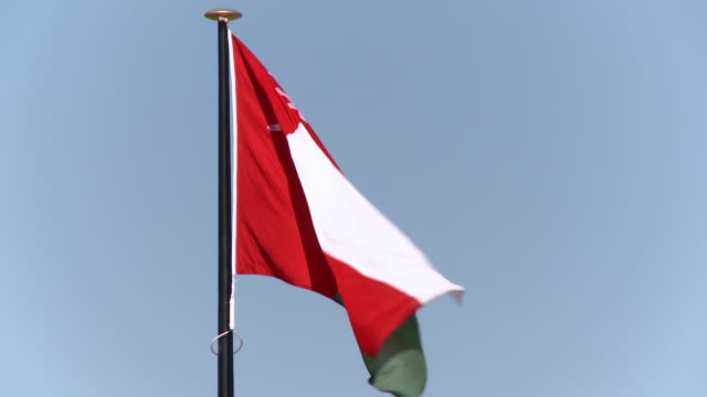cu view of omani flag blowing in wind / muscat, oman - oman flag stock videos and b-roll footage