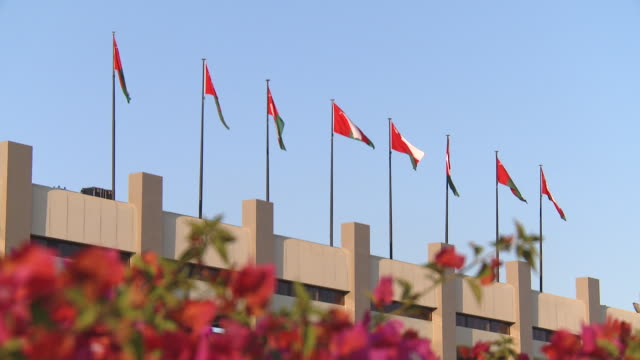 ms view of omani flags on building blowing in wind / muscat, oman - persian gulf stock videos & royalty-free footage