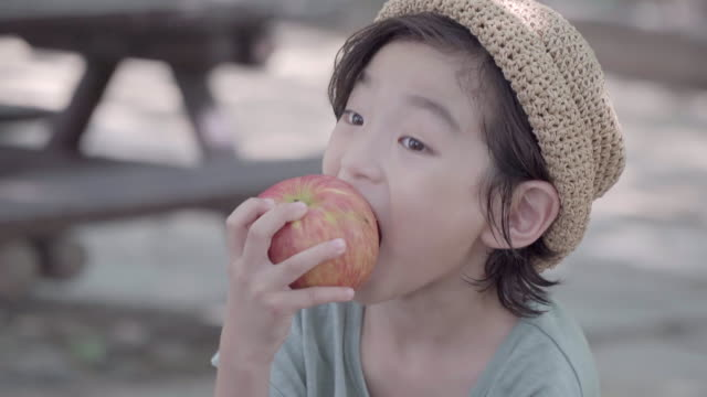 View of one boy eating an apple in summer at Seoulforest (the third largest park in Seoul city)