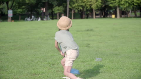 view of one boy trying to catch butterflies with a butterfly net in summer at seoulforest (the third largest park in seoul city) - catching stock videos & royalty-free footage