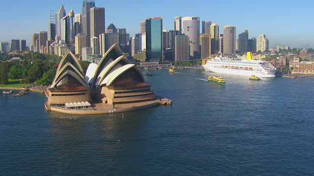 ws aerial zi view of opera house / mascot, new south wales, australia - australia stock videos & royalty-free footage
