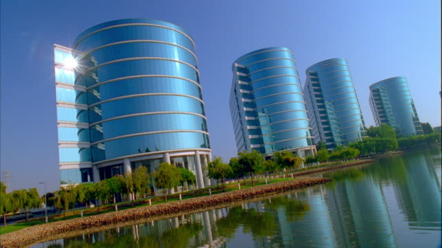 ws view of oracle headquarters / redwood city, california, usa - cylinder stock videos & royalty-free footage