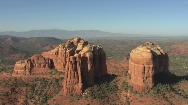 ws aerial view of orbit cathedral rock / sedona, arizona, united states  - sedona stock videos & royalty-free footage