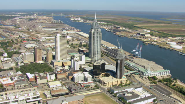 ws aerial view of orbit downtown buildings  / mobile, alabama, united states   - alabama video stock e b–roll