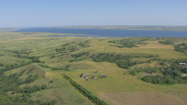 ws aerial view of orbit fort manuel / kenel, south dakota, united states - grass family stock videos & royalty-free footage